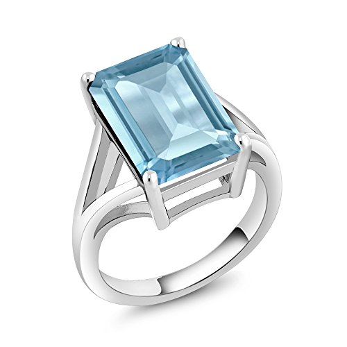 (Gem Stone King Sterling Silver Sky Blue Topaz Women's Solitaire Ring 8.70 cttw Gemstone Birthstone 14X10MM Emerald Cut (Available 5,6,7,8,9) (Size 9))