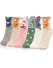 WOSTOO Damen Socken, 6 Paar Socken Damen süße Interessante Tier Charakter Katze Funny Crew Socken