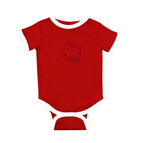 Cute Rascals Red Cards with The Inscription Love Cotton Short Sleeve Crewneck Unisex Baby Soccer Bodysuit Sports Jersey - Red, Newborn