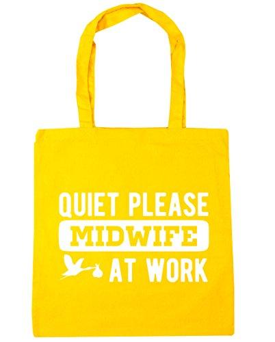 HippoWarehouse Silencioso por favor Matrona en el trabajo bolsa de la compra bolsa de playa 42cm x38cm, 10litros amarillo