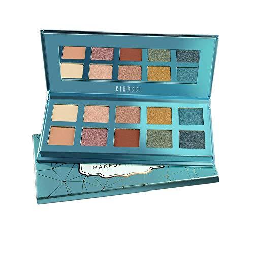 CIBBCCI Pigmented 3 Matte 7 Shimmer Eyeshadow Palette with Mirror, 10 Colors Velvet Blending Long Lasting Eye Shadow Makeup Pallet