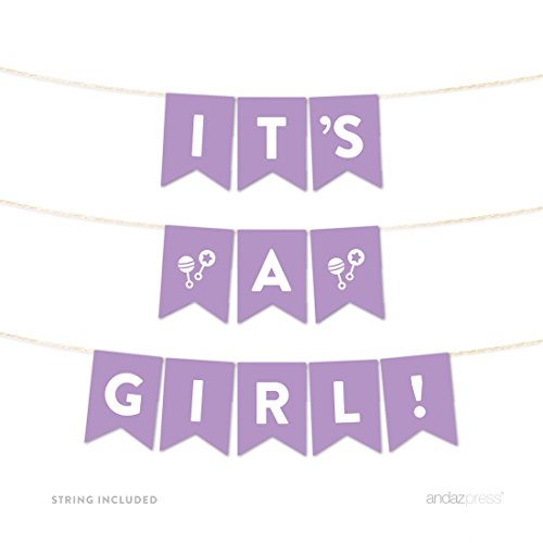 Andaz Press Girl Baby Shower Hanging Pennant Garland Party Banner with String, Lavender, It's a Girl!, 5-feet, 1-Set]()