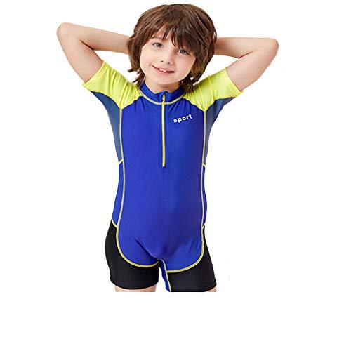 Kids Wetsuit Neoprene Short Sleeve Youth Shorty Wetsuit for Girls Boys Child Sun Protection Swimsuit CapsA