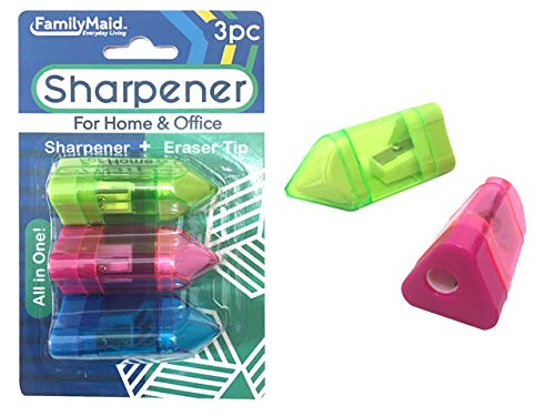 Sharpeners 3 pcs with Eraser 3Asst, Case of 144 by DollarItemDirect