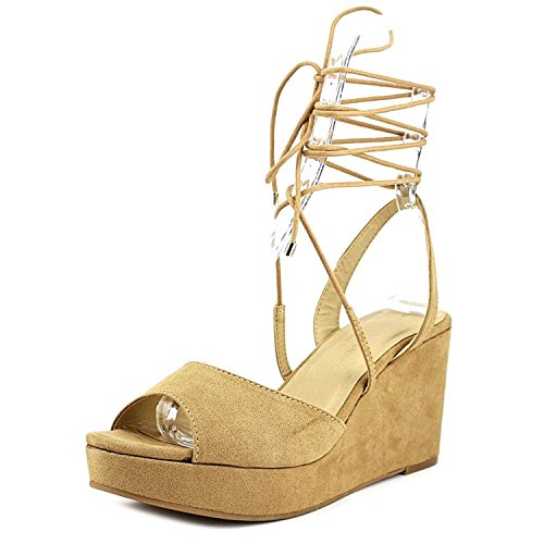 Chinese Laundry Womens Cindy Open Toe Casual Platforms Sandals Camel Microsuede Size 6.5 M US