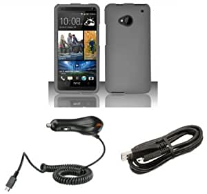Bloutina HTC One (M7 New 2013 Model) - Premium Accessory Kit - Charcoal Gray Hard Cover Case + ATOM LED Keychain Light...