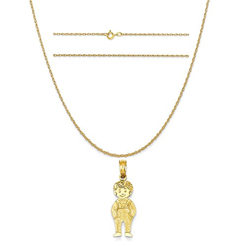 14k Yellow Gold Boy with Hands in Pocket Pendant on 14K Yellow Gold Carded Rope Chain Necklace, 18