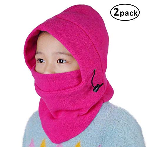 Price comparison product image Balaclava Kids Face Mask for Girls Cold Weather Sun Protection,Wind-Resistant Ski Mask Uv Protection Pink 2Pack (Pink)