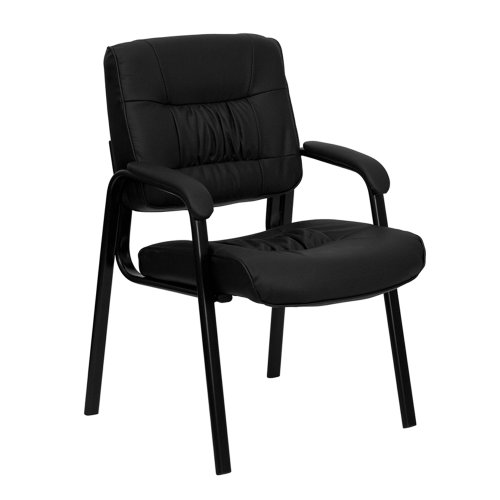 - Offex OF-BT-1404-GG Black Leather Guest Reception Chair with Black Frame Finish