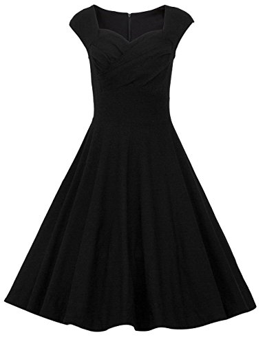 Dresstells 50s Retro Audrey Hepburn Swing Pinup Polka Dots Rockabilly Dress negro