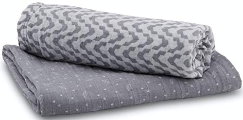Enovoe Muslin Swaddle Blankets - (2 Pack) - 100% Cotton, All-in-One Baby Swaddle Blanket for Boys and Girls - for Receiving, Swaddling, Wrapping - Burp Cloth, Nursing Cover and Stroller Cover