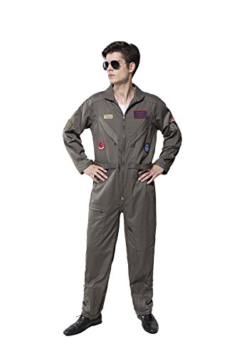 Top Gun Costume Adult Men's Flight Suit Movie Cosplay - Large