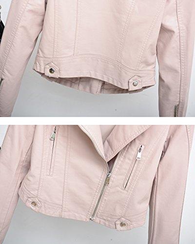 PU De de Cuero Mujer con larga Chaqueta Corta manga Cazadoras cremallera Chaqueta Pink Softshell 5tqUxwq6