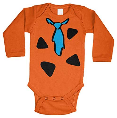Tcombo Cartoon Caveman Costume - Cute Funny Long Sleeve Bodysuit (Orange, 12 Months) -