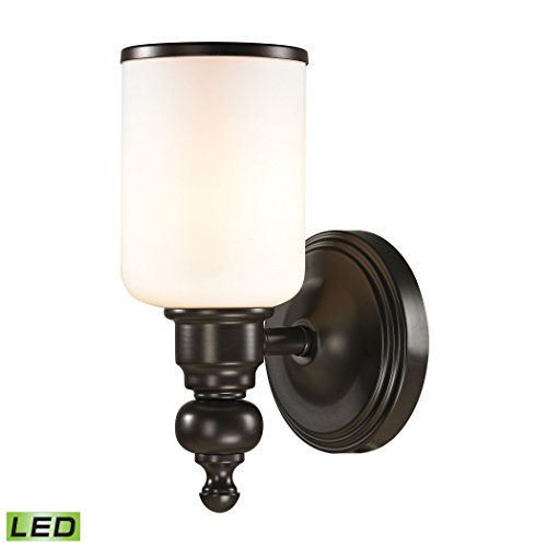 Alumbrada Collection Bristol Way 1 Light LED Vanity In Oil Rubbed Bronze And Opal White Glass