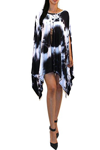 (Vivicastle Women's Loose Bat Wing Dolman Poncho Tunic Dress Top (one Size, blk/Tiedye))