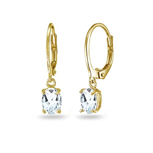 LOVVE Yellow Gold Flashed Sterling Silver Aquamarine 7x5mm Oval Dangle Leverback Earrings