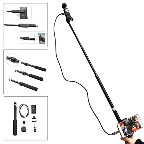Selfie Stick, Extendable Selfie Stick with Detachable Wireless Remote and Compact Handheld Monopod with Bluetooth (Black)