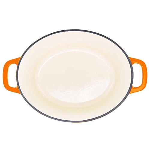 Zelancio 6 Quart Cast Iron Enamel Covered Oval Dutch Oven Cooking Dish with Skillet Lid in Orange