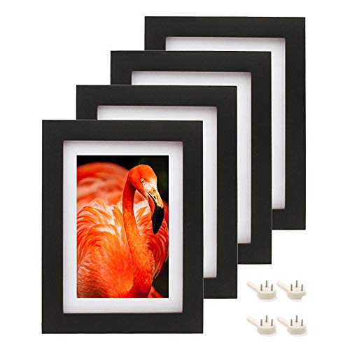 Afuly 5x7 Picture Frames Black Wood with White Mat to fit 4x6 Photo for Wall Gallery and Table Top - Set of 4 - Mounting Material Included - Made of Solid Wood & 2mm Thick Plexiglass