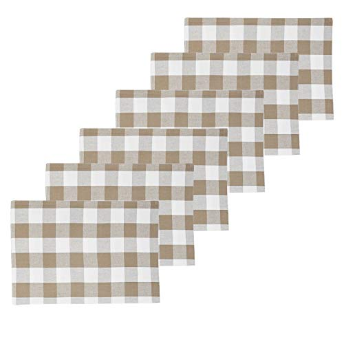 (C&F Home Franklin Buffalo Check Gingham Plaid Woven Clay Tan and White Cotton Placemat Set 6 Rectangular Placemat Set of 6 Clay Natural Tan)