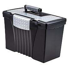 Storex Portable File Storage Box with Organizer Lid, Letter/Legal Size, Black (61510U01C)