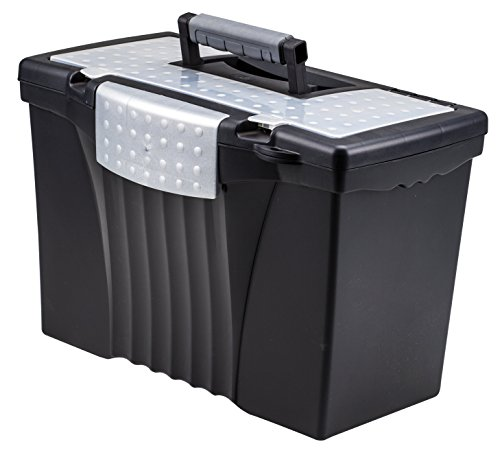 - Storex Portable File Box with Organizer Lid, 17.13 x 9.63 x 11 Inches, Letter/Legal, Black (61510U01C)