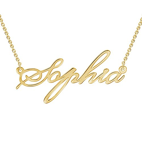 SOUFEEL Customized Necklace Personalized Necklace 14K Gold Plated Name Necklace 925 Sterling Silver Valentine's Day - Name Gold Pendant 14k