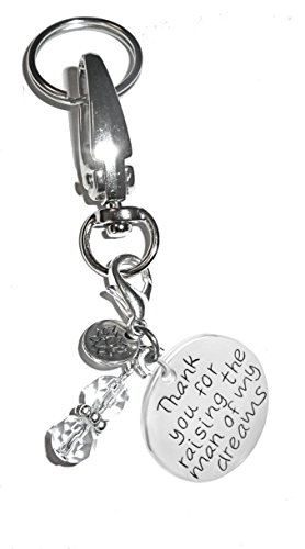 Charm Key Chain Ring, Women's Purse or Necklace Charm, Comes in a Gift Box! (Thank you for raising the man of my dreams) (You Wedding Keychains Thank)