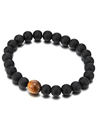 Mens Women Stretchable Matt Black Onyx Beads Bracelet with Tiger Eye Bead Charm Buddhist Prayer Mala
