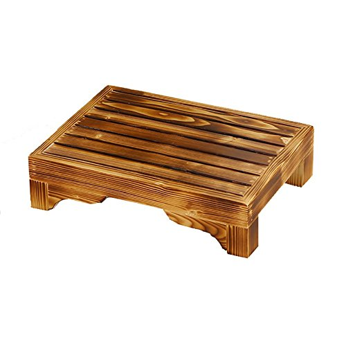Footrest Stool Solid Wood Low Stool Bedside Sofa Footstool Toilet Bathroom Non-slip Wooden Mat (Color : Carbonized color, Size : 403010cm) by Step Ladders