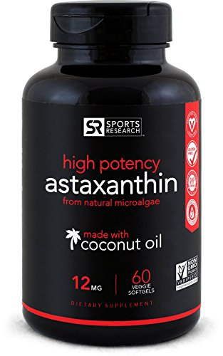 Astaxanthin (12mg) with Organic Coconut Oil | Powerful Antioxidant Naturally Supporting Joint, Skin, Eye Health (60 Veggie-Softgels)