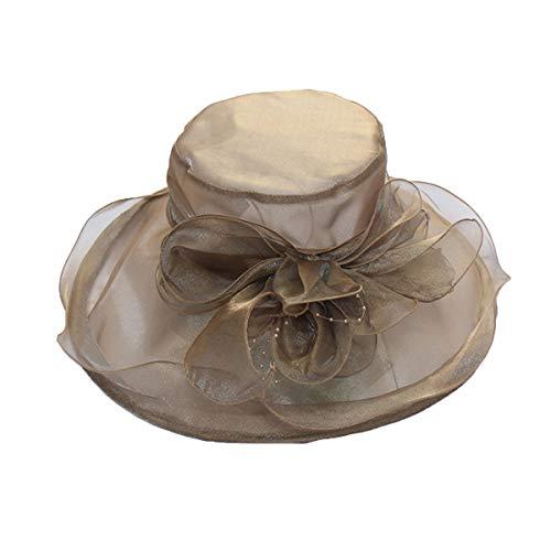 (Womens Ladies Organza Church Wide Brim Hat Sun Hat Summer Reversible Beach Hat Foldable Wide Brim Cap, Brown 2)