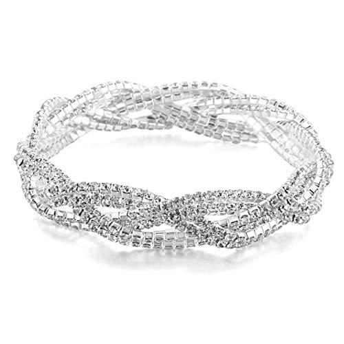 LDPF Fashion Crystal Rhinestone Bracelet for for Wedding,Prom,Bridal,Costume,Figure Competition,Bikini Competition ()