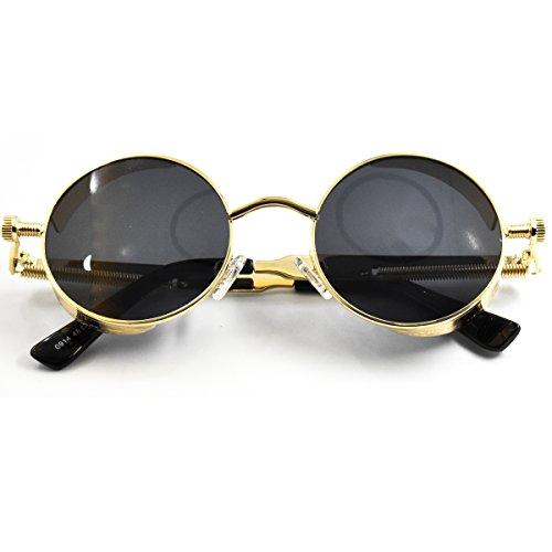 SamuRita Lennon Gothic Steampunk Sunglasses Black Yellow Tinted Shades