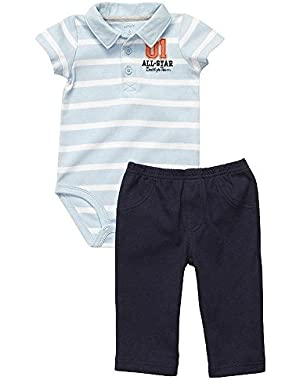 Carter's Baby Boy's 3 Months Blue Polo All-Star Daddy's Team Outfit, Set