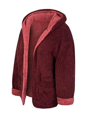 Design by Olivia Women's Ultra Soft Warm Reversible Sherpa Faux Fur Open Front Hoodie Jacket Wine/Dark Mauve M