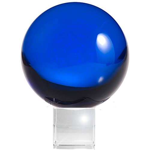 Amlong Crystal Meditation Ball Globe with Free Crystal Stand, 80mm, Blue