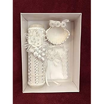 Christening Baptism Rat Tail Hive/White Candle Set
