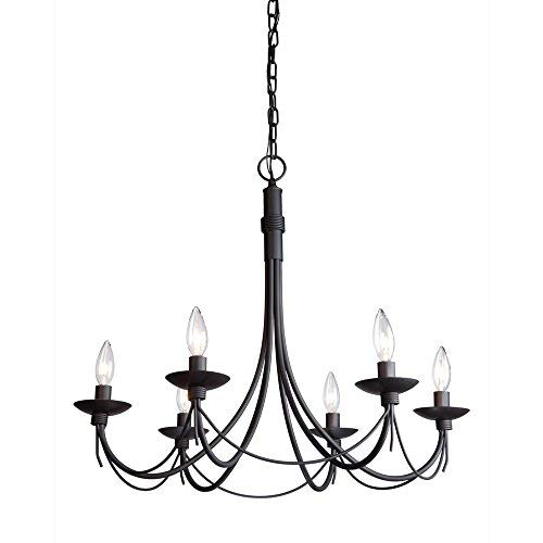 Artcraft Lighting Wrought Iron Chandelier, 25-Inch x 23-Inch, Ebony (Forged Chandelier Hanging Iron Wrought)