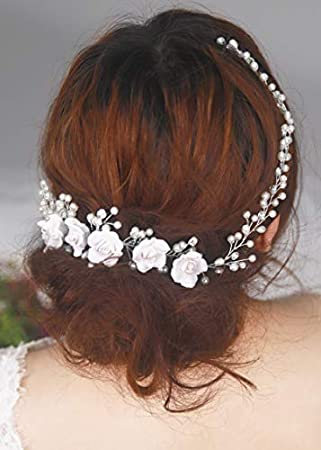 silberfarben Kercisbeauty Haarschmuck für Hochzeit Brautschmuck rustikal Hochzeit Haarband Haarkamm für Abschlussball Vintage-Stil Perlenzweig und weiße Rose