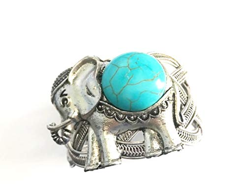 Global Huntress Stunning Elephant Turquoise Antique Silver Natural Stone Oval Cuff Embellished Bracelet