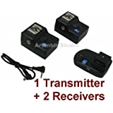 Wireless Radio Remote Trigger 1 Transmitter + 2 Receivers for for NISSIN DI622,DI866,DI466; VIVITAR 285HV, DF383; Canon 430EX II, 580EX II, 550EX; NIKON SB-600, SB-800, SB-900, SB-26, SB-27, SB-28, SB-80DX Speedlight Flash