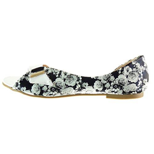 Angkorly - damen Schuhe Sandalen - Offen - Sexy - Blumen - String Tanga - Schleife Blockabsatz 1 CM - Weiß