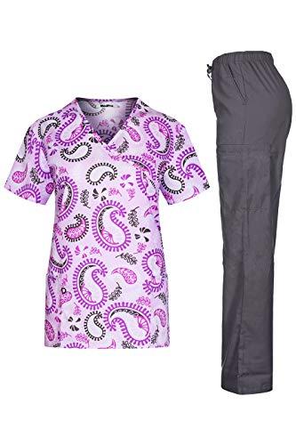 MedPro Women's Printed Medical Scrub Set Mock Wrap Top and Pants Purple XL