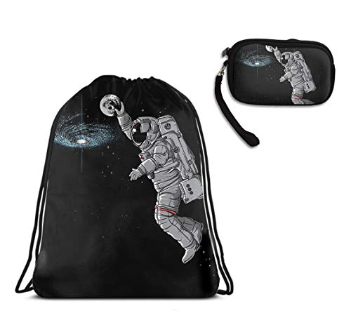 Lightweight Outer Space Astronaut Drawstring Backpack Gym Travel Rucksack, Waterproof Shoulder Backpack Large Backpack With Id Case Handbag Handbag For Shopping Party ()