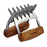 OTOWARE Metal Meat Claws Stainless 18/8 Steel Meat Shredder Forks Wood Handle Cutting Knife Bottle Opener Barbecue Tool Set for Shredding Pulling Lifting BBQ, (2 Pcs,BPA Free)