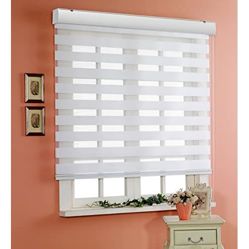 Zebra Roller Blinds Day and Night Window Drapes Winsharp Basic, White, W 20 1//2 x H 47 inch Custom Cut to Size, Sheer or Privacy Light Control 20 to 110 inch Wide Dual Layer Shades
