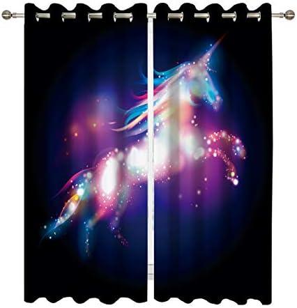 Ormis Blackout Curtains Light Blocking Draperies Unicorn