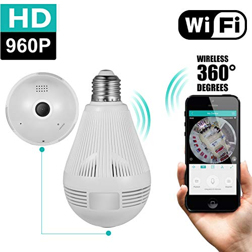 360 Degree Panoramic Camera Home Security Camera System 960P WiFi Camera for Home Monitoring Indoor Light Bulb Camera with 2-Way-Talking Motion Detection Playback